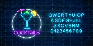 Neon sambuca cocktail sign in circle frame with alphabet. Glowing gas advertising with glass of alcohol shake. Drinking canteen banner. Night club invitation royalty free illustration