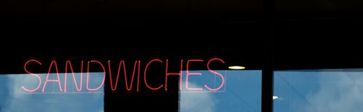 Neon Sandwiches Sign Stock Photography