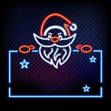 Neon Santa is holding banner. Glow on black background. Place for text. Christmas banner.  royalty free illustration