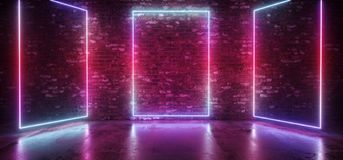 Neon Sci Fi Futuristic Retro Modern Elegant Club Glowing Gradient Blue Pink Purple Stage Rectangle Frame Lights On Brick Wall royalty free illustration