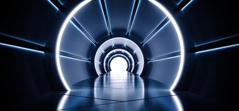 Neon Sci-Fi Futuristic Round Cylinder Shaped Corridor With Led Blue And White Lights Glowing With Reflection Blue White Spaceship. Interior Technology Concept vector illustration