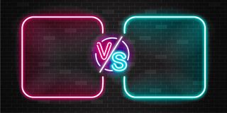 Neon screen and banner of versus battle, glow pink and blue outline. Neon screen and banner of versus battle, glow pink and blue outline vs duel for game fight stock illustration