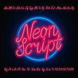 Neon script alphabet font. Red neon uppercase and lowercase letters and numbers. Hand drawn vector typeface for your headers or any typography design Royalty Free Stock Images