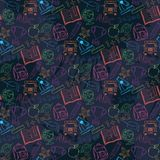 Neon Seamless pattern Back to schoolon a dark Stock Photo