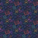 Neon Seamless pattern Back to schoolon a dark blue. Background ,with hat graduate, scroll, apple, books, flasks, basketball, alarm clock, briefcase, backpack vector illustration