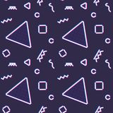 Neon seamless pattern with memphis and 80s style. Shapes Stock Photos