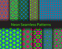Neon seamless patterns. Fluorescent Lime, Pink and Blue colors Stock Photos