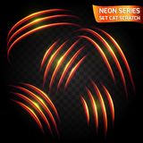 Neon Series set of cat scratch. Bright neon glowing effect.. Transparent background. Abstract glowing crack, speed imitation bright red effect. Vector Stock Photography