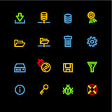 Neon server icons. Vector icon set, neon series Royalty Free Stock Images