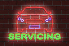 Neon SERVICING sign Stock Photo