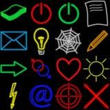Neon set. Neon symbols on black background. photoshop illustration stock illustration