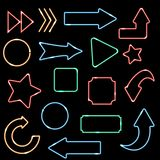 Neon set. Arrows and frames. Neon realistic arrows set showing direction on black background isolated vector illustration Stock Photos