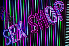 Neon sex shop sign Stock Photography