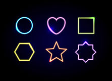 Neon shapes frames. Glowing circle, heart, square, hexagon, star and polygon symbols. vector illustration