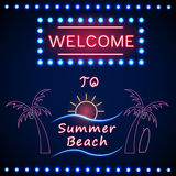 Neon shining beach party with palm tree and sun Royalty Free Stock Images