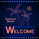 Neon shining beach party with palm tree and sun Stock Image