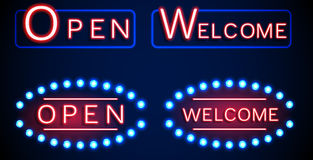 Neon shining signboard with word open and welcome Stock Photos