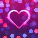 Neon shiny heart shape on bokeh background, vector illustration. Design royalty free illustration