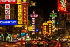 Neon shop signs at Yaowarat Road in Bangkok Stock Images