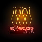 Neon sigh. Bowling club Stock Photos