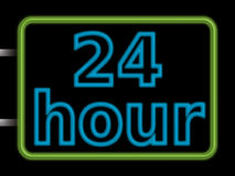 Neon sign 24hr. Illustration of a shop neon sign that says 24hr opening Stock Photos