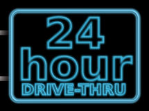 Neon sign 24hr drive. 24 hour drive through illustration of a neon sign Stock Photography