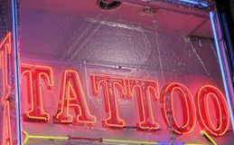 Neon Sign. Tattoo shop sign on Hollywood Blvd Stock Photography