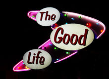 Neon Sign. The Good Life Royalty Free Stock Photo