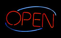 Neon Sign. Red and Blue Open Neon Sign Stock Photos