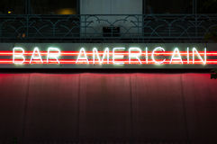 Neon Sign of american bar Stock Image