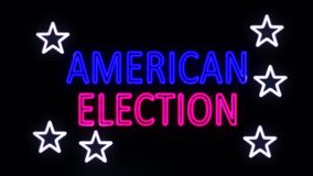 Neon Sign American Election Turning On stock video