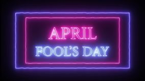 Neon sign `April Fool`s Day`. Pink and blue vector illustration