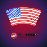 Neon Sign Arced USA Flag. Arced USA flag neon signs makes it quick and easy to customize your patriotic project. Used neon vector brushes included Royalty Free Stock Photos