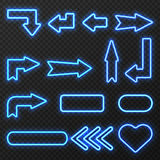 Neon Sign Arrows Symbols Set stock illustration