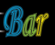 Neon sign bar Stock Photos