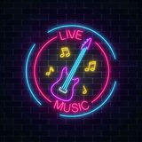 Neon sign of bar with live music on a brick wall background. Advertising glowing signboard of sound cafe. With electric guitar and music notes symbols. Vector Stock Photography