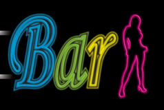 Neon sign bar Royalty Free Stock Image