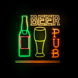 Neon sign. Beer bar Stock Images