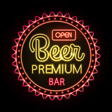 Neon sign. Beer bar Stock Photos