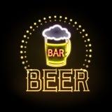 Neon sign. Beer bar Stock Image