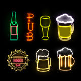 Neon sign. Beer bar Stock Photography