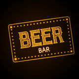 Neon sign. Beer bar Royalty Free Stock Photography