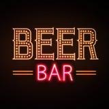 Neon sign. Beer bar royalty free illustration