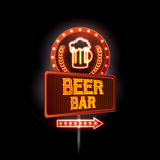 Neon sign. Beer bar Royalty Free Stock Photo