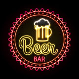Neon sign. Beer bar Stock Image