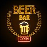 Neon sign. Beer bar Stock Photos