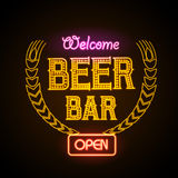 Neon sign. Beer bar Royalty Free Stock Image