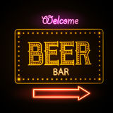 Neon sign. Beer bar Royalty Free Stock Images