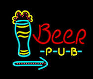Neon Sign Beer Pub on a Black Background Royalty Free Stock Images