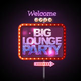 Neon sign big lounge party Stock Image